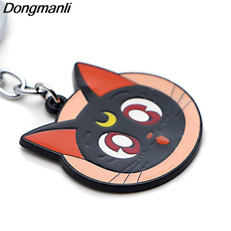 P3793 Dongmanli Anime Sailor Moon Gato Chave Titular Bonito Presentes Anéis de Esmalte de Metal Pingente Chaveiro Para Chave Do Carro