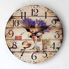 2016 New Arrival Grocery Painted Lavender Wood Clock Nostalgic Home Furnishing Electronic Quartz 0002A1