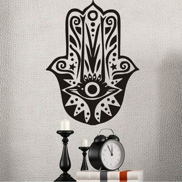 Hamsa Hand Om Yoga Buddhism Wall Stickers Bedroom Murals Say Quote Word Lettering Art