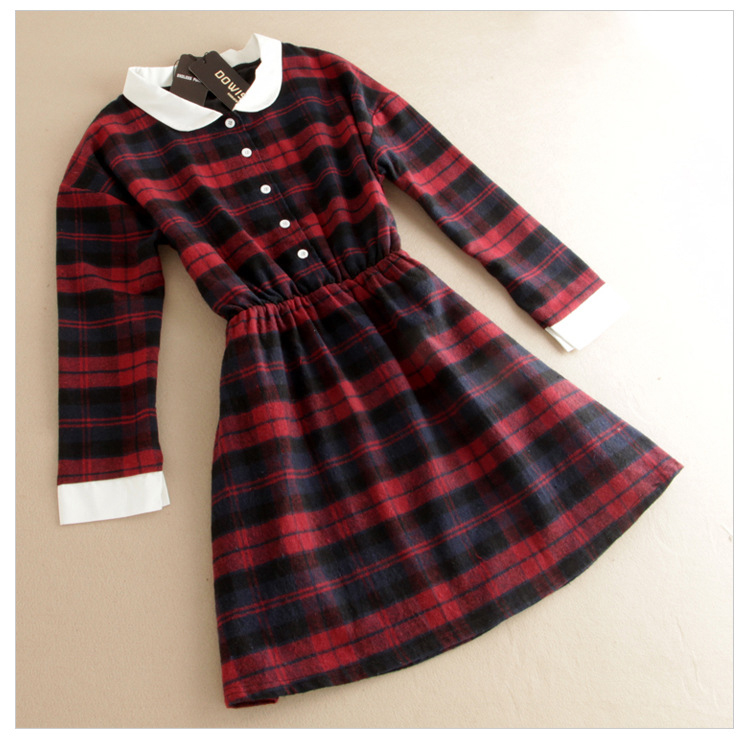 Fall women long sleeved peter pan collar casual woolen red for Red plaid dress shirt