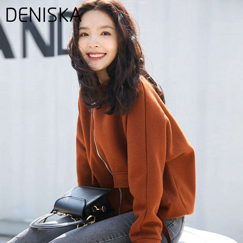 DENISKA 2018 Spring Winter Korean Women Jacket High Quality Short Section Ms Woolen Cloth Coat Solid Color Round Collar Woolen