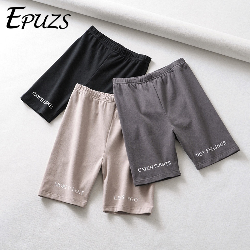 Sexy Black Biker Shorts Women Elastic High Waist Shorts Skinny Fitness Korean Streetwear Letter Print Short Feminino 2019