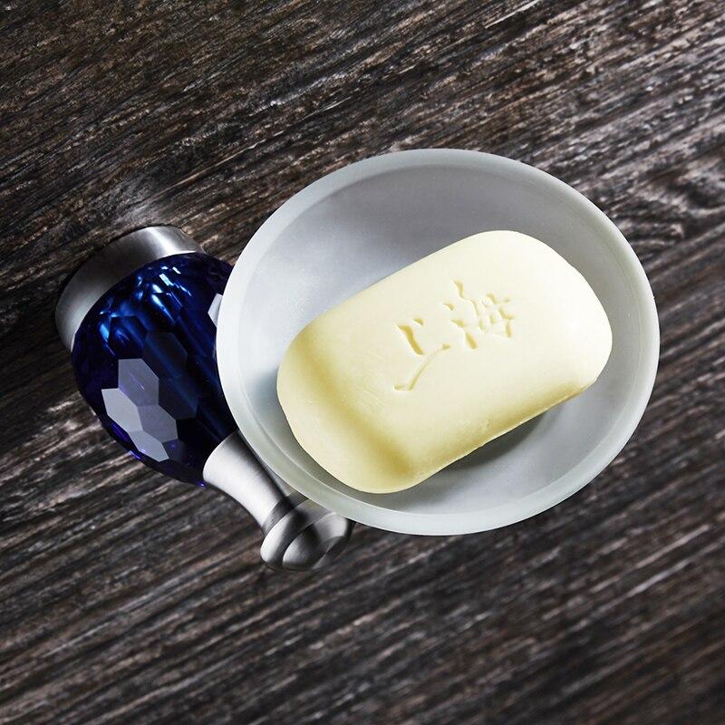 WEYUU Soap Dish On The Wall Luxury Blue Crystal Soap Holder Drain Basket Stainless Steel Bathroom Accessories Brushed Nickel