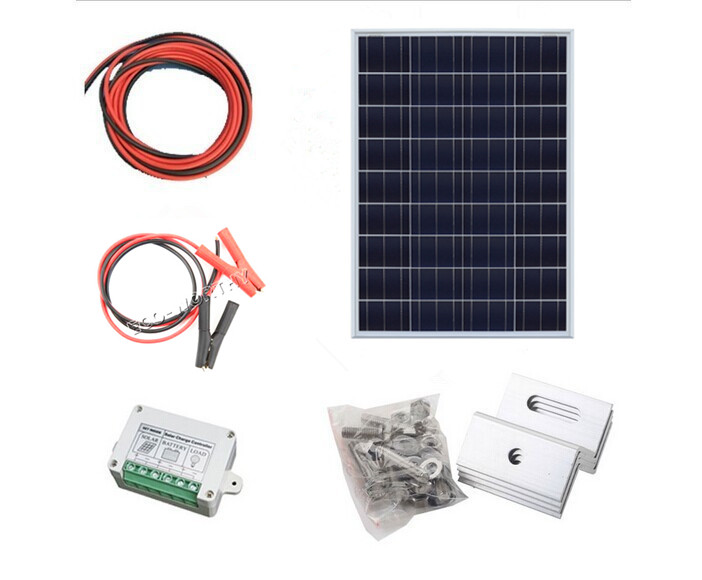 100W , 2*50W solar panel kit with controller PV solar extension cable with battery clip , 100w off grid system * solar system with poly 25w12v solar panel 3a solar controller 2m extension cable with battery clips free shipping