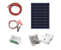 100W , 2*50W solar panel kit with controller PV solar extension cable with battery clip , 100w off grid system *