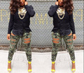 New FASHION Camouflage Jeans Woman Knee Skinny Pencil Pants Slim Denim Ripped Boyfriend Jeans Women Hot Ripped Jeans for women