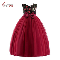 MUABABY 3T 12T Children Girl Wedding Party Dress Wine Red Sleeveless Floral Embroidered Bow Mesh Ball Gown Elegant Long Dress
