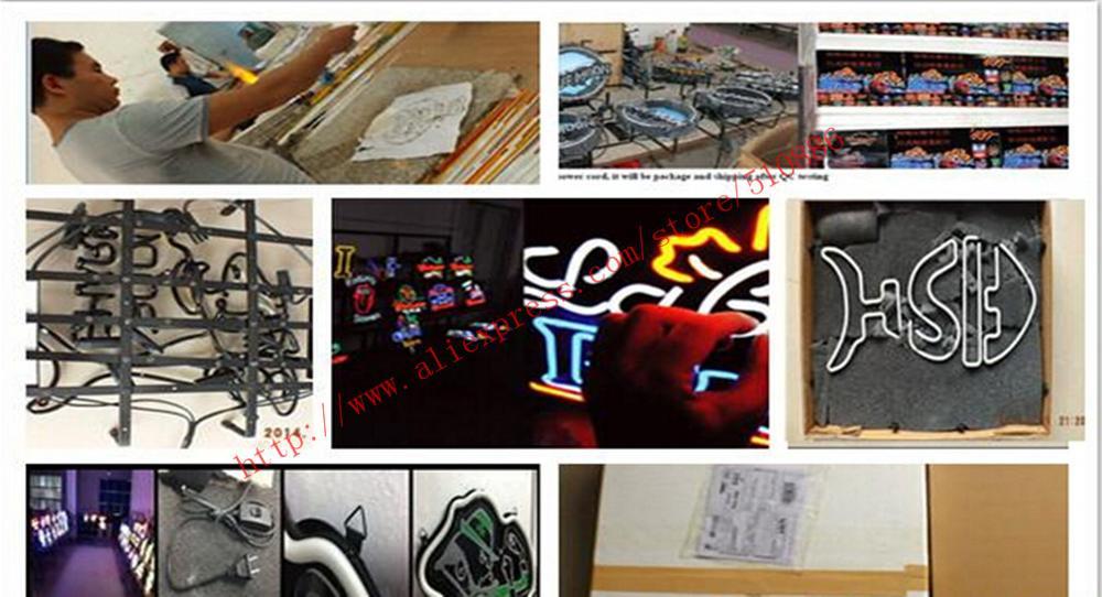 Pick-up ici alimentation néon signe verre Tubes lumière Bar bière Club personnalisé néon enseignes ampoules magasin décoration enseigne signalisation 17