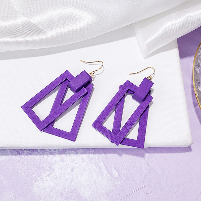 Korean Double Layer Wood Drop Earrings For Women Yellow Purple White Geometric Round Square Dangle Earrings Girls Jewelry Gift