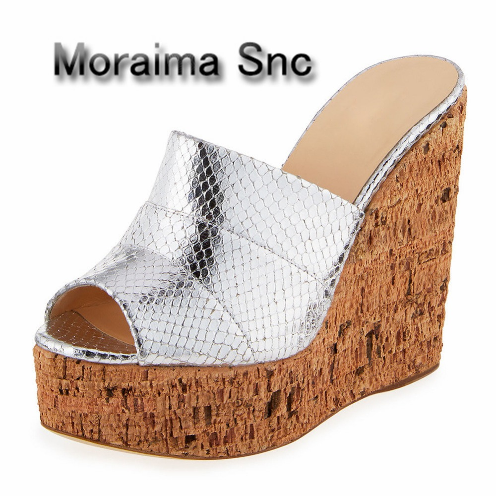 Moraima Snc summer gladiator slippers women Wood texture wedges shoes sliver black Patent leather high heels slippers females