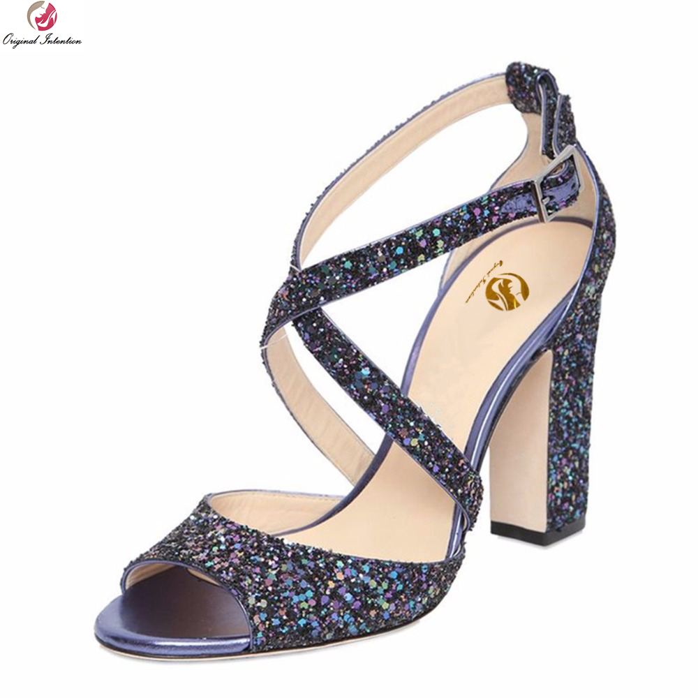 Original Intention Sexy Women Sandals Popular Glitter Open Toe Square Heels  Sandals Blue Silver Shoes Woman Plus US Size 3-10.5 c1cdbdfdd221