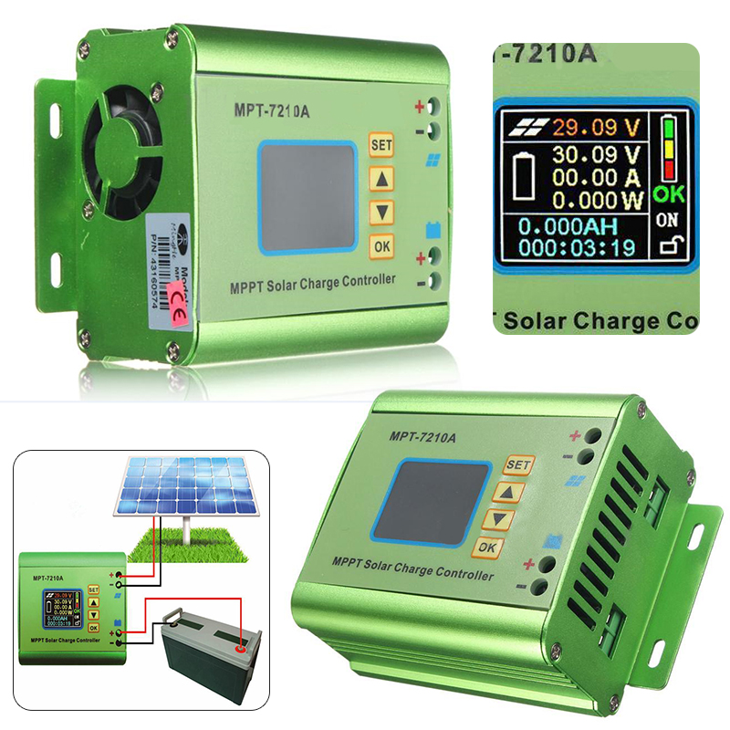 LCD Display Solar Controllers MPPT Solar Panel Charge Controller 24/36/48/60/72V 10A Boost Charge Solar Controllers Mayitr 24 36 48 60 72v 10a dc dc boost lcd mppt solar regulator charge controller 7210a