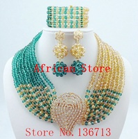 Fine African Beads Jewelry Sets Necklace Bracelet Earrings Rings Crystal Party Wedding Bridal Collar AccessoriesL215