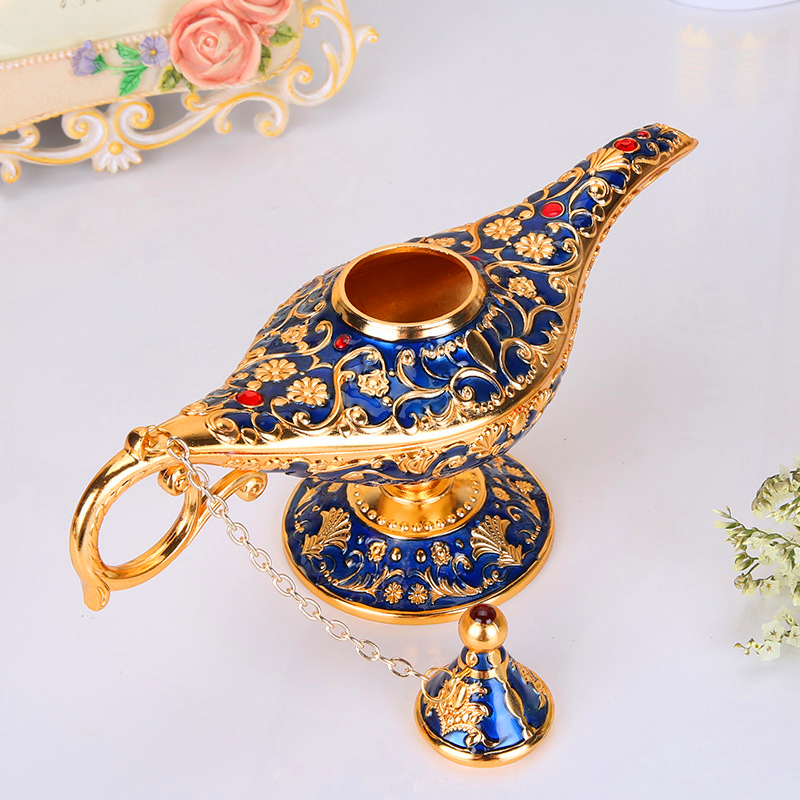 Vintage Metal Aladdins Magic lamp Figurines tin alloy retro Tea Pot lamp Miniatures Kids Christmas Toys gifts decoration crafts in Figurines Miniatures from Home Garden