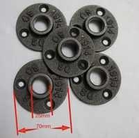 30 sztuk DIY w stylu LOFT żeliwo przemysłowe rury kołnierzowe bazy (-DN20-3/4''Pipe identyfikator otworu: 25 MM)