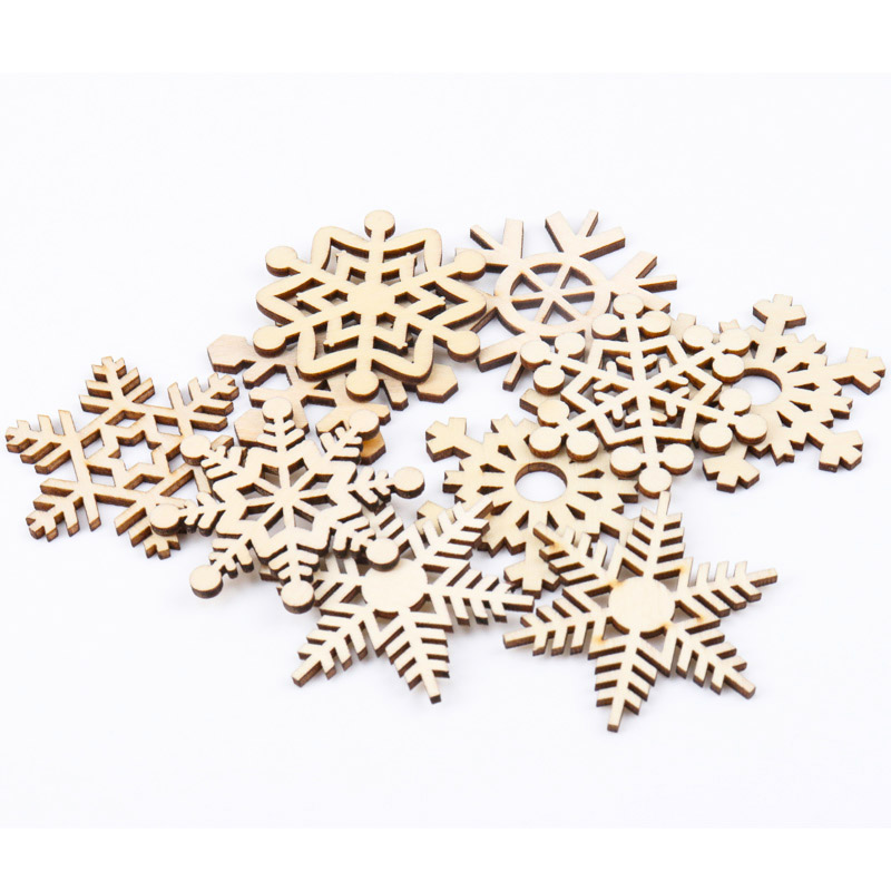 Wooden Christmas Series Snowflake Pattern Scrapbooking Craft For Handmade Accessory Sewing Home Decoration 50mm 10pcs