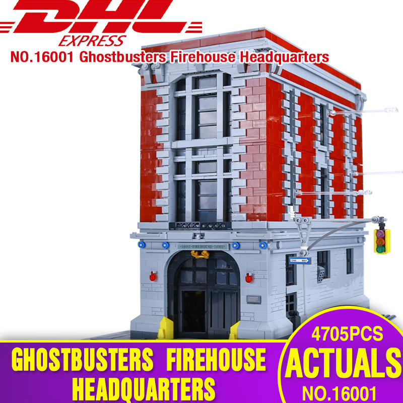 DHL LEPIN 16001 4705Pcs Ghostbusters Firehouse Headquarters Model Educational Building Kits Model set brinquedos legoing 75827 4695pcs lepin 16001 city series firehouse headquarters house model building blocks compatible 75827 architecture toy to children