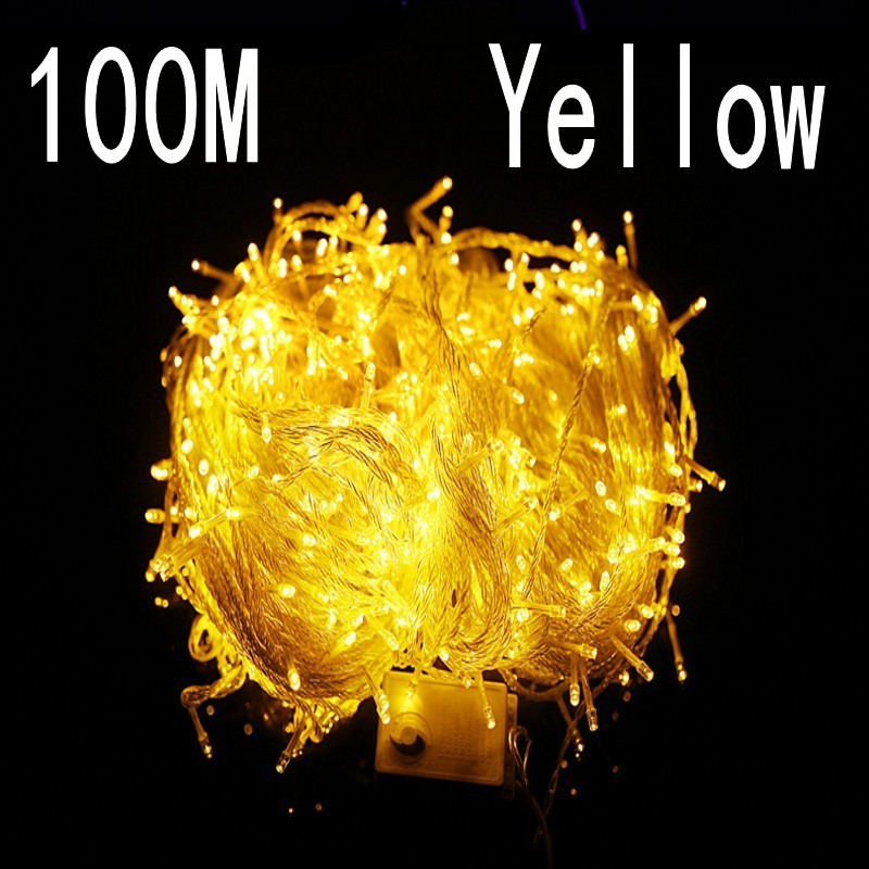 yellow colour 100 meter 800 LED Christmas Lights 8 Modes for Decorative Christmas Holiday Wedding Parties Indoor / Outdoor Use
