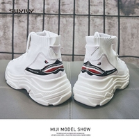 SWYIVY Women S Sneakers Platform White Shoes High Top Canvas Shoes 2018 Spring Sock Casual Shoes
