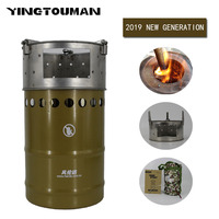 YINGTOUMAN Outdoor Portable Windproof Energy efficient Wood Stove Carbon Steel Burner Camping Stoves for Hiking Picnic