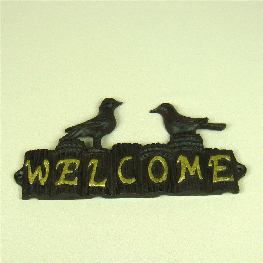 Cast Iron Seagull and Stake Welcome Plaque Metal Ornament Gift and ...