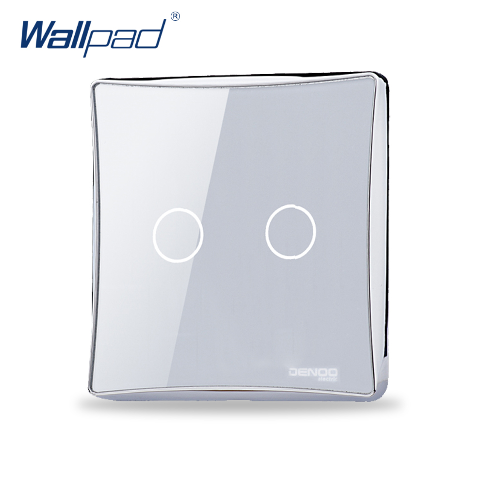 2 Gang 2 Way Wallpad Luxury Black/White Crystal Glass Switch Panel Touch Screen Wall Light Switch Backlight LED 2017 free shipping smart wall switch crystal glass panel switch us 2 gang remote control touch switch wall light switch for led