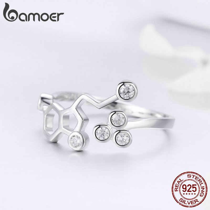 BAMOER אמיתי 925 כסף סטרלינג כוורת מתכוונן אצבע טבעות לנשים ברור CZ טבעת חתונה אירוסין תכשיטי אנל SCR433