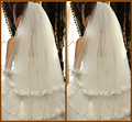 2016 Tulle Lace Bottom Appliques Bridal Veils Finger Length 39 Inch Two Tiers Short White Veil with Comb Lovely Wedding Veil