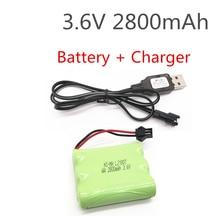 3,6 V 2800 mAh ni-mh batería con cargador USB batería nimh pilas recargables 3,6 V aa ni mh para rc coche juguete herramientas modelo