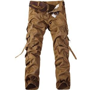 Image 4 - Pantalones Cargo Casual para hombre 2020, pantalones de algodón con bolsillos grandes, pantalones militares holgados, pantalones largos para hombre 28 42 de talla grande