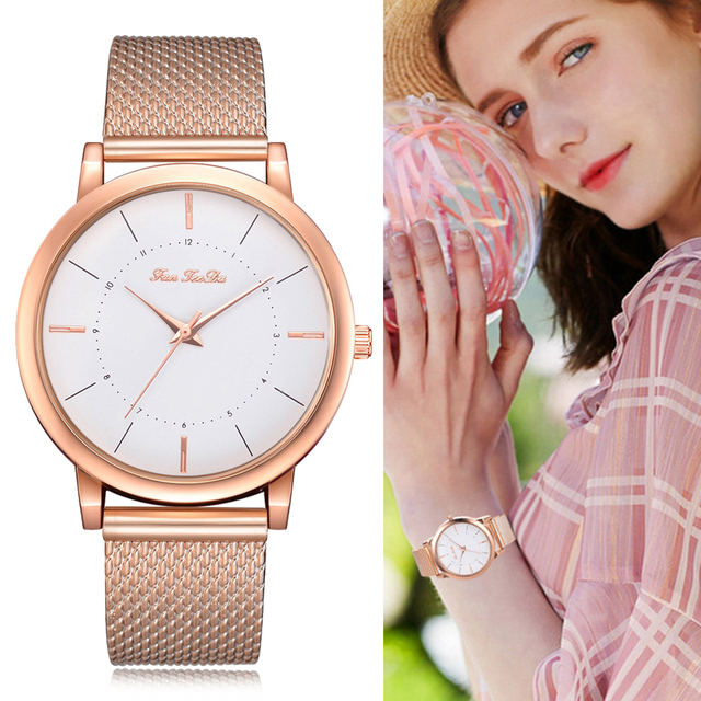 Fanteeda Brand Watches For Women Rose Gold Silicone Band Clock Fashion Women Spo