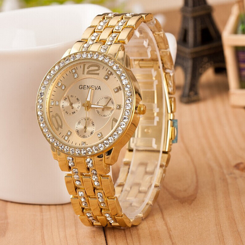 2017 Luxury Brand Watches Women Geneva Quartz Analog Wristwatch Golden Band Roman Rhinestones Watch Relogio Feminino Hot Sale relojes mujer 2017 fashion women casual geneva roman leather band analog quartz wrist watch hot sale bayan saat relogio feminino