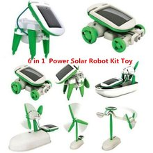 DROPSHIPPING 6 in 1 Educational Learning Power Solar Robot Kit Toy Transformation Robot DIY Toy Science Kit For Kid Birthday(China)