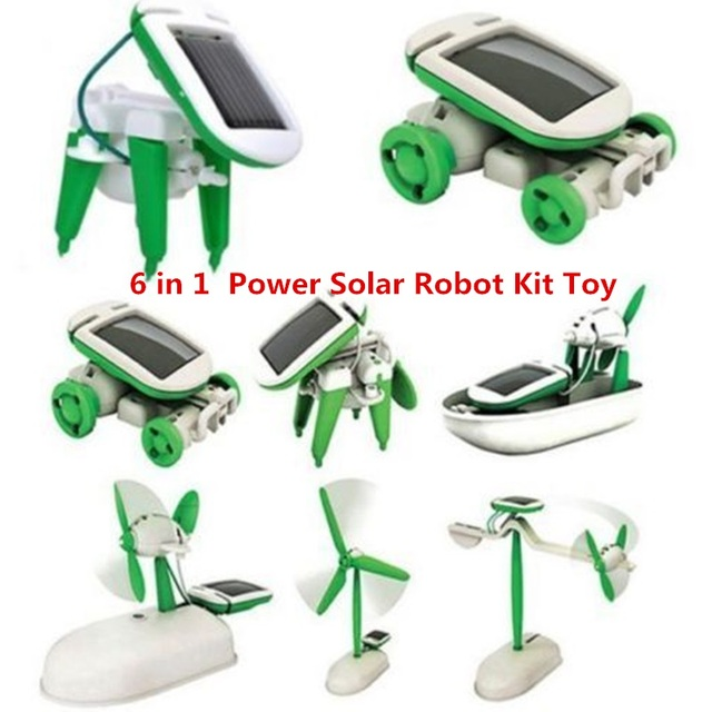 d412a104612 DROPSHIPPING 6 in 1 Educational Learning Power Solar Robot Kit Toy  Transformation Robot DIY Toy Science Kit For Kid Birthday
