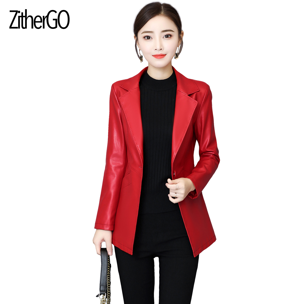 ZitherGo Fashion Women Faux   Leather   Blazer Woman Large lapel Slim Jacket Red Color Formal Suits Female Work   Leather   Coats