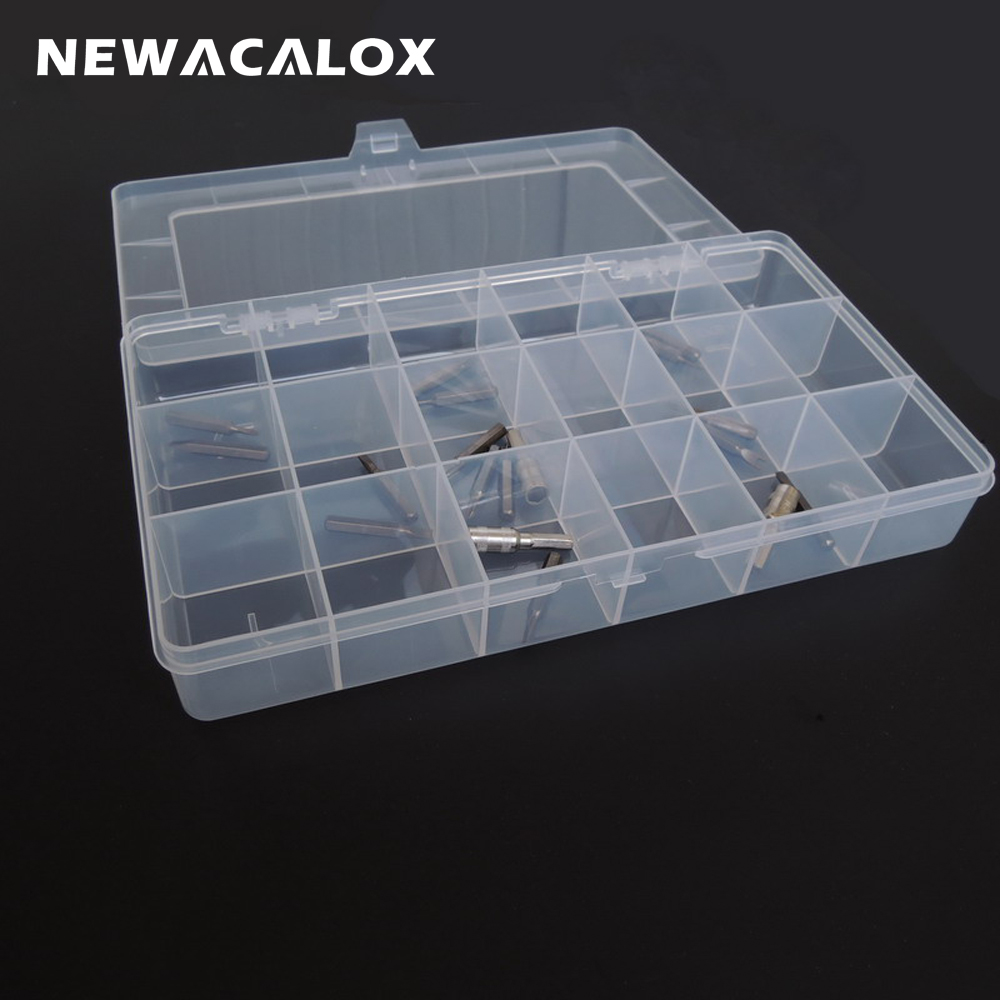 NEWACALOX Plastic Toolbox Transparent Electronic Component Storage Box Casket SMD Metal Parts Screw Container DIY Tool