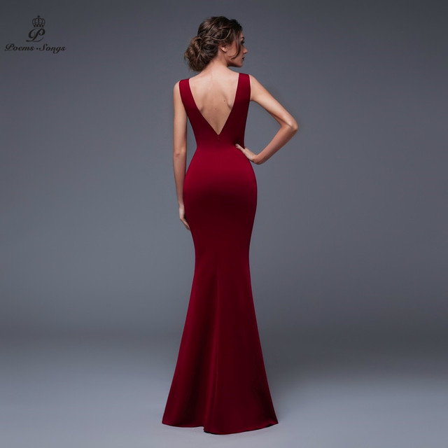 Poems Songs 2019 New Year Doube-V SEXY Evening Prom Slit Side Open Mermaid  Party dress vestido de festa Vintage robe longue 1