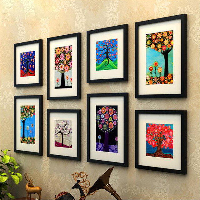 8 pcs/set Wooden Picture Frame Black Coffee Color Photo Wall Frames Painting Frame Square and Rectangle Mixed Wall Decoration