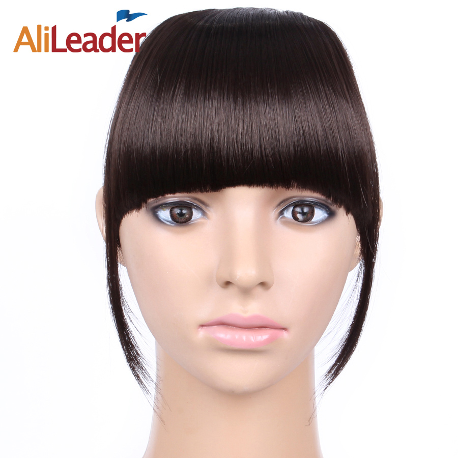 AliLeader Short Striaght Neat Bangs Clip In Synthetic Hair Extensions Front  False Fringe Hair Piece Black b3df364b20b