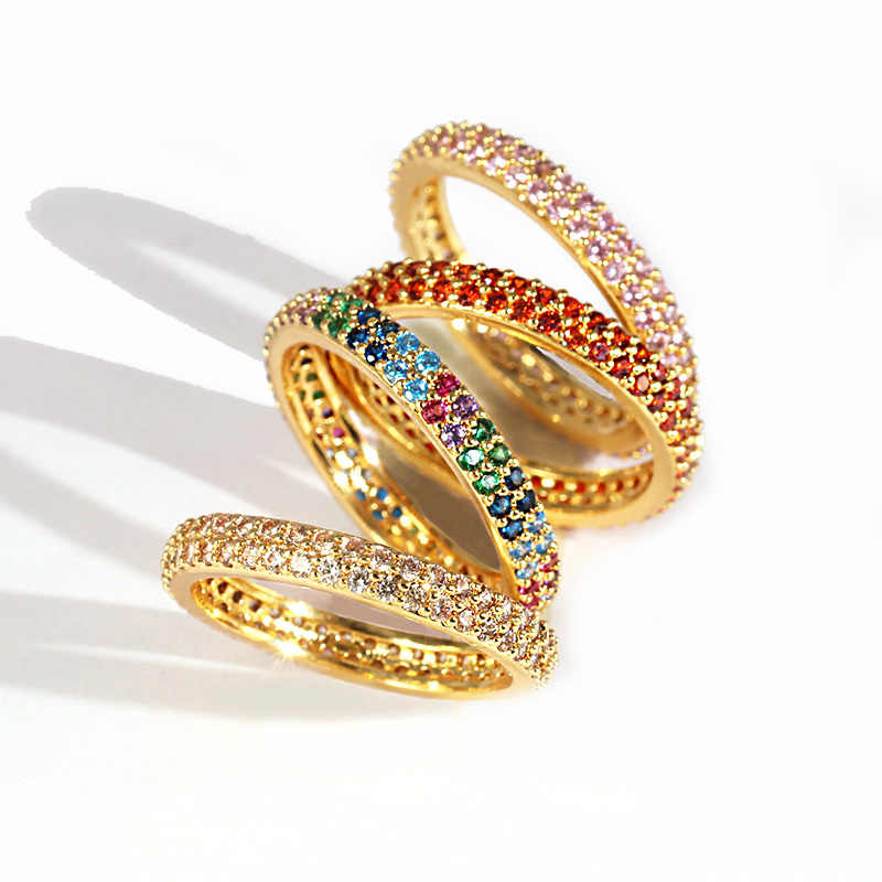 Women rings European 2019 new arrived hot selling rainbow cz eternity ring band Gold filled 14 gold k cz rings Size 56789
