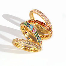 Women rings European 2019 new arrived hot selling rainbow cz eternity ring band Gold filled 14 gold k cz rings Size 56789(China)