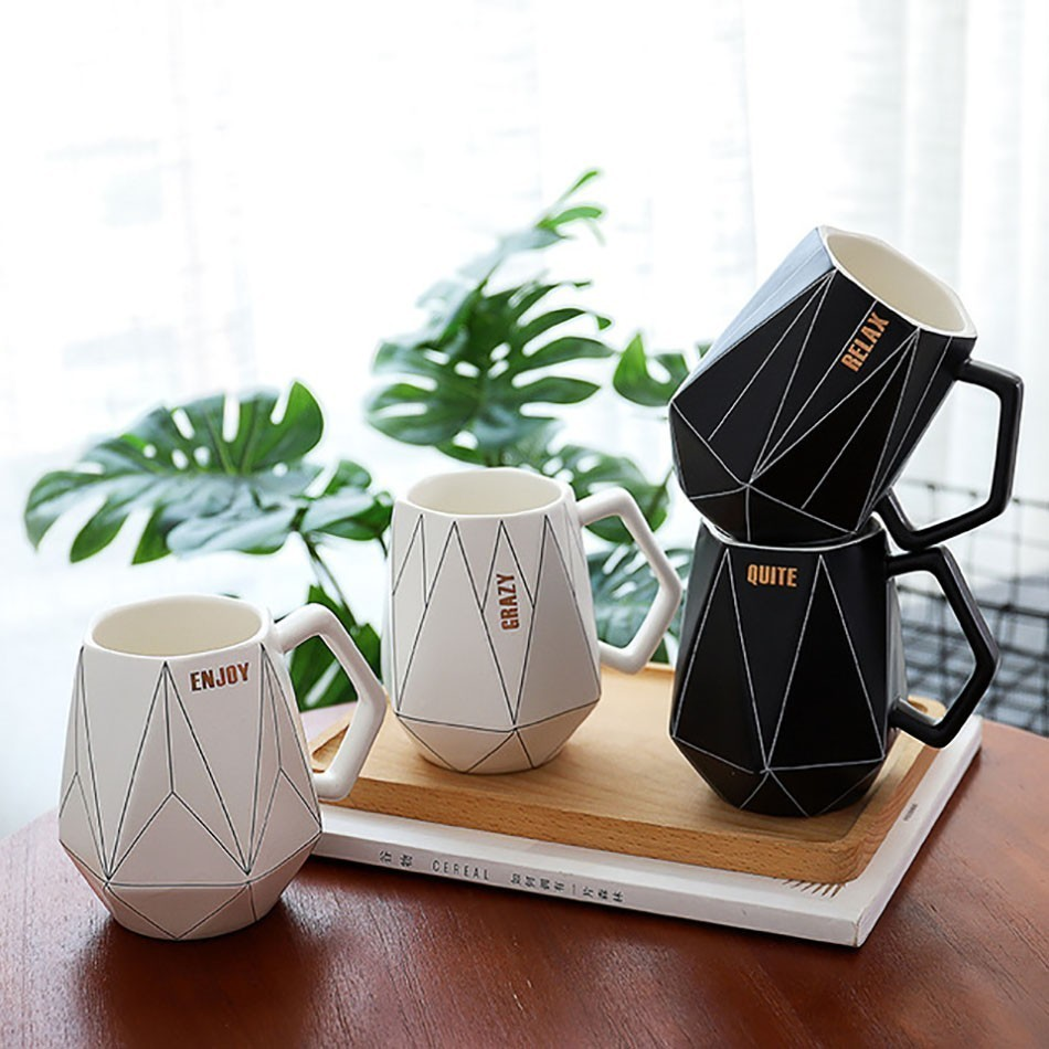 Creative Ceramis Mugs Polygon Coffee <font><b>Cup</b></font> Geometric Travel Mugs And <font><b>Cups</b></font> Office Milk <font><b>Cup</b></font> <font><b>Coffe</b></font> <font><b>Cups</b></font> CU070901 image