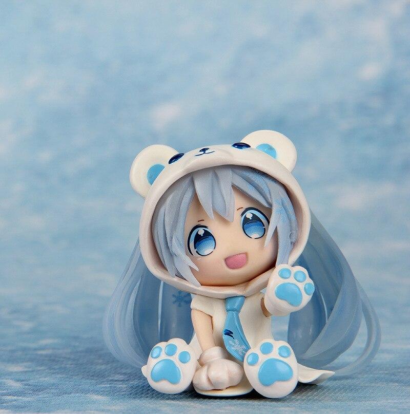 2pcs/set Hatsune Miku Action Figure Toy scale painted figure cute Q Ver. Snow Miku Figure Dolls Brinquedos Anime Baby Toys GS058 170 cute hatsune miku face changeable figure garage kit set