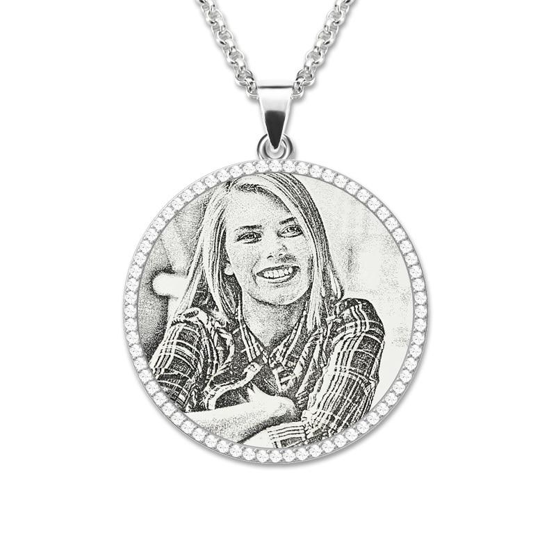 AILIN foto grabado collar de plata de ley Birthstone madre joyería personalizada regalo conmemorativo-in Colgantes from Joyería y accesorios    1