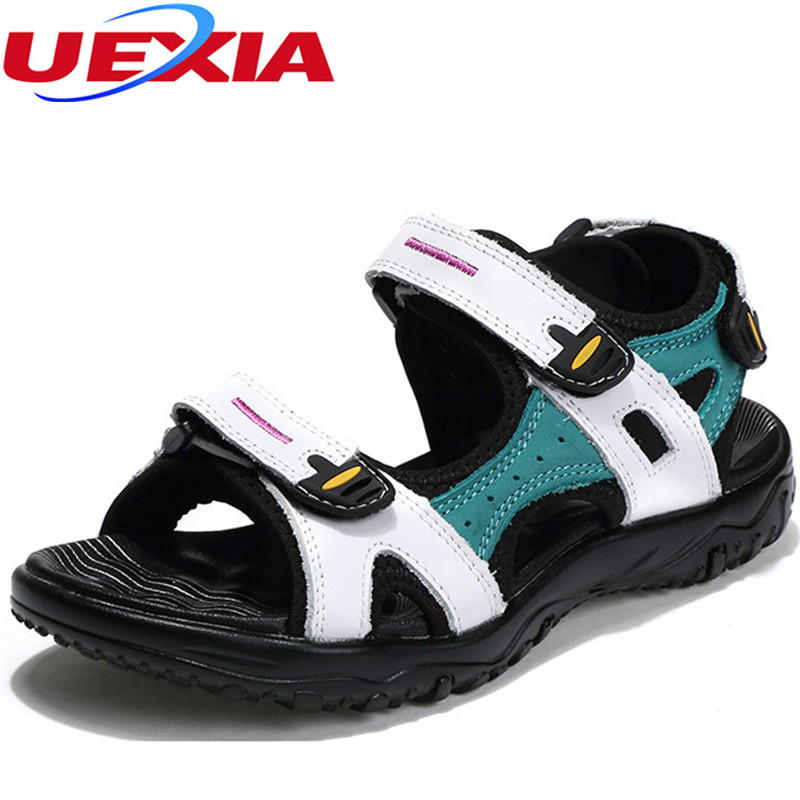 New Summer Leather Casual Shoes Women Shoes Walking Designer Breathable Driving Flats Beach Breathable Sandals sandalias mujeres