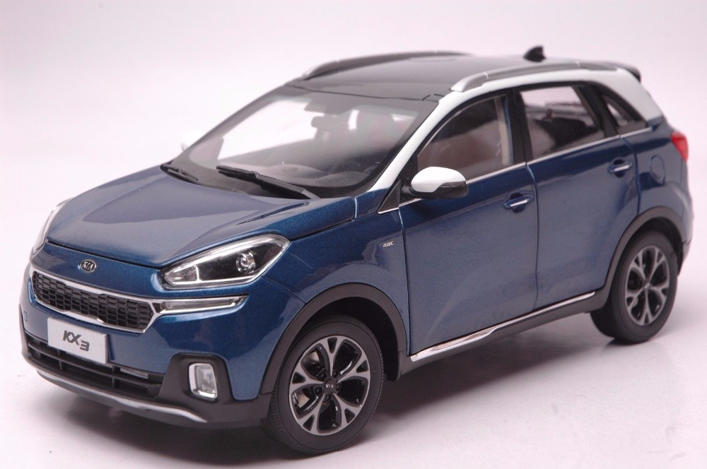 1:18 Diecast Model For Kia KX3 2016 Blue SUV Alloy Toy Car Miniature Collection Gifts