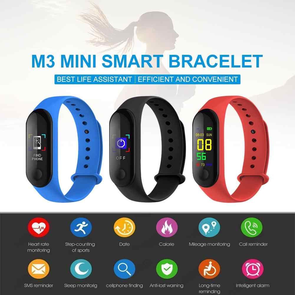 M3 شاشة ملونة الرياضة سوار ذكي جهاز تعقب للياقة البدنية الذكية الفرقة القلب معدل الدم مراقبة ضغط خطوة مضادة سوار ساعة M3