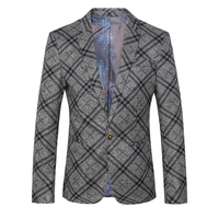 2016 New arrival plaid wool&cotton Single button gray Blazer men, Casual jacket Men Slim Blazer jackets Size M,L,XL,XXL,XXXL