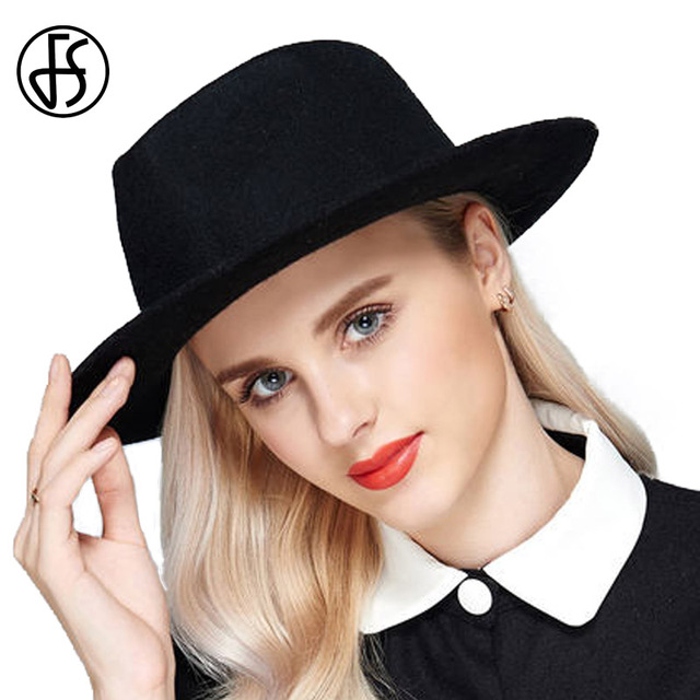 FS Fedora Hat Ladies Winter 100% Wool Felt Hats Jazz Gangster Caps Vintage  Elegant Church Hats For Black Women Derby Gorras 9438034e5e0