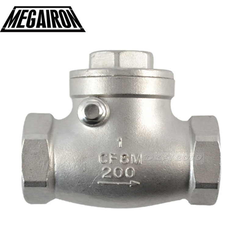 MEGAIRON BSPT 1 DN25 PN16 CF8M Threaded Swing Check Valve 200PSI Stainless Steel SS316 Female Check Valve dn25 golden 1 inch female bspp thread swing check valve high pressure 32mm thread